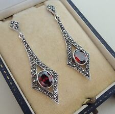 Sterling Silver Garnet and Marcasite Earrings