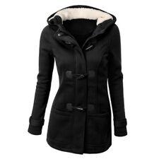 Plus Size Double-breasted Winter Coat Women Wool Jacket Hoody Parka Horn Button