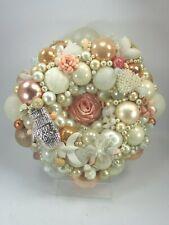 Vintage Peach White Christmas ornament wreath Germany Glass Shiny Brite 32157