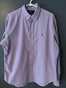 Mens RALPH LAUREN Button Down Classic Fit Long Dress Oxford Shirt Sz Large L