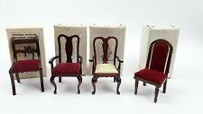New ListingLot of 4 Vintage Doll Display Chairs Dark Wood Velvet Dollhouse Furniture