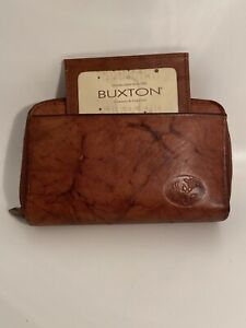 Buxton Burgundy Leather Zip Wallet Organizer ~Credit Card ID Slots Coin Key Ring