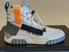 Diesel S-RUA MID SP Men's Sneakers White/ Orange High Top w/toggle Laces Size 10