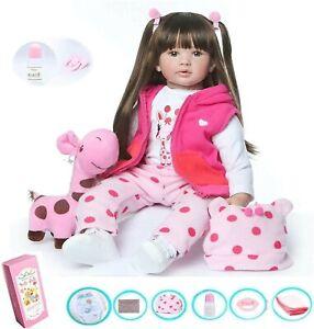 Echte Baby Mädchen Rebornpuppen 60CM Weiche Vinyl Silikon Handgemachte Spielzeug