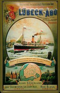 Dampfschiff Lübeck Blechschild Schild 3D geprägt Tin Sign 20 x 30 cm A986