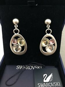 Genuine Swarovski Earrings. Large drop with Pink/yellow/white crystals.