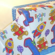 Amscan 1st BIRTHDAY BOY Hugs & Stitches Rectangle Tablecloth Paper Table Cover