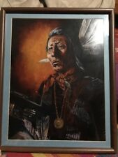 Pat McAllister framed Signed Print Red Cloud  Sioux Indian Limited  195 Of 250
