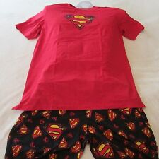 Mens~SMALL~Bioworld~SUPERMAN~Jersey~Sleep Set~PJs~Lounge Pants~Shirt~MSRP $42