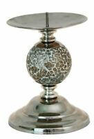 Champagne Mosaic Small Candle Holder With 1 Ceramic Ball On A Chrome Base-18cm