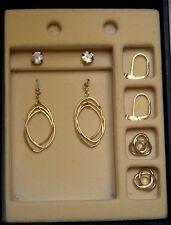 Gold Spinning Spirals 4pc set CZ Studs Gold Loop Jackets and Convertiblez