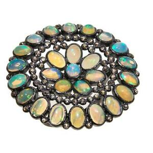 Meher's SS BLACK RHODIUM ETHIOPIAN OPAL AND 0.7CT CHAMPAGNE DIAMOND ROUND RING