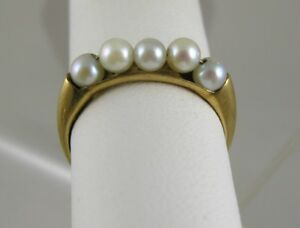 Pearls 5-White 3.5MM Band Style Ring 14Ky/g Sz. 6.5