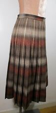 """Vintage Womens 70s Brown&Red Pleat Wool Skirt SMALL Size 10 (Proper Waist 28"""")"""