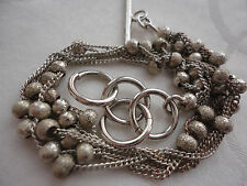 """Silverplated chains balls 5 mm -1cm wide 6.6-7.5"""" toggle rings 10 gram bracelet"""