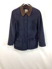 LL Bean Barn Coat Field Jacket Womens Small Blue Wool Blend Faux Suede Collar