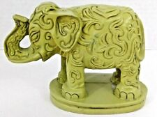 "Detailed Elephant Figurine Green Resin Mexico 4 1/2"" x 6 1/2"""