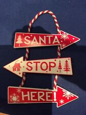 Santa Stop Here Wooden Hanging Sign Christmas Decoration Gift Grotto WOOD