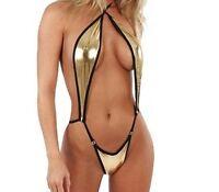 Sexy Women Ladies Gold Leather Lingerie Dress Underwear Babydoll Sleepwear