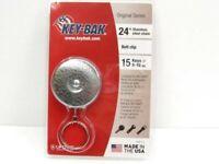 "Key-Bak Chrome Model 5 Original Retractable 24"" Chain Key Ring Reel + Belt Clip"