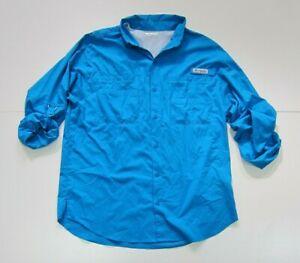 Columbia PFG Blue Hunting Fishing Hike Travel Cargo Long Sleeve Shirt Men Size L