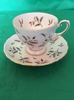 TUSCAN FINE BONE CHINA CUP & SAUCER PINK GREEN LEAVES BERRIES GOLD TRIM