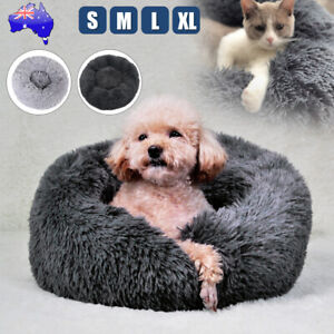 Dog Pet Cat Calming Bed Beds Large Mat Comfy Puppy Fluffy Donut Cushion Plush_AU