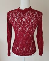 Oasis Ladies Red Lace Top Size 6-8 <CX6158