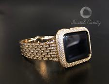 Apple Watch Band 42mm S2/3 Gold Rhinestone & Gold Case Cover Bezel Lab Diamonds