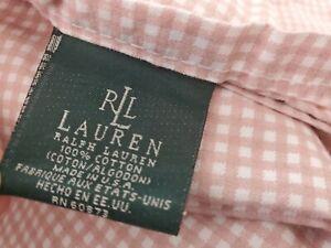 Vintage Lauren Ralph Lauren Pink Small Gingham Queen Flat & Fitted Sheet Set