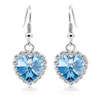 Silver tone Crystal rhinestones hearts of ocean drop dangle women girl earrings
