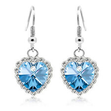 Silver tone Crystal rhinestones hearts of ocean drop dangle women girl earrings