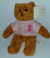 "Avon Breast Cancer Crusade Beanie Teddy Bear Plush 7"" Pink Ribbon 2001 RARE"