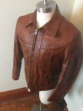 Mens Vtg 70s Reed Sportswear Brown Retro Leather Jacket medium cafe race