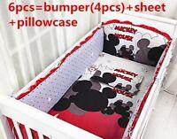 Mickey mouse Baby bedding set for boys infant bedding  6pcs Nursery bedding set