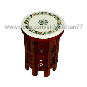 Round Nesting End Table Sofa SideTable Marble Inlay Small Coffee Table