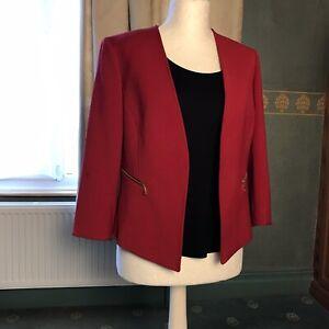 Tahari Arthur S Levine ladies red edge to edge jacket size 12 14 regular petite