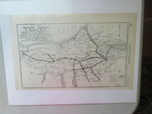 Original Vintage Map of the Rochester Syracuse & Eastern R.R. ~ 1910