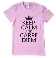 KEEP CALM AND CARPE DIEM Unisex Adult T-Shirt Tee Top