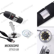 MICROSCOPIO USB OTTICO DIGITALE 50X 500X  8 LED ENDOSCOPIO 2 MPX FOTO VIDEO