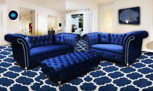 Luxury Dream Chesterfield Sofa 3+2 Set in Plush Velvet Fabric! Premium Quality!