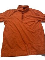 Hugo Boss LARGE Pima Cotton Orange Polo Shirt Mens Casual