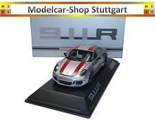 PORSCHE 911r argento/rosso Strisce stata limitata 991 PEZZI SPARK 1:43 wax02020050