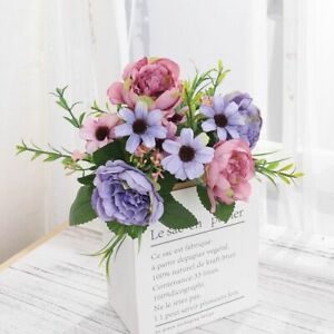 Retro Style Artificial Peony Flower Home Wedding Party Decoration Wire Bent Stem