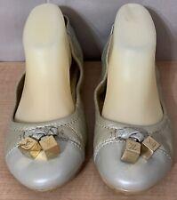 Louis Vuitton Metallic Beige & Light Gold LV Loafers Flats Shoes Sz.39 1/2 / 9.5