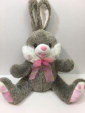 """Dan Dee Collector's Choice Plush Bunny Rabbit Gray White 2013 Polka Dot Bow 14"""""""