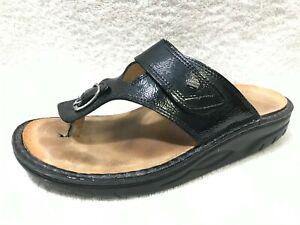 $255 Finn Comfort Calmasino Finnamic 37 Black Patent Leather Thong Sandal