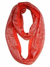 CORAL SPRING SCARF WITH METALLIC STRIPES