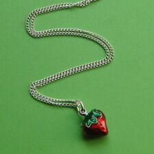 JUICY STRAWBERRY NECKLACE ENAMEL BERRY FRUIT CHARM PENDANT SILVER TONE RED SWEET