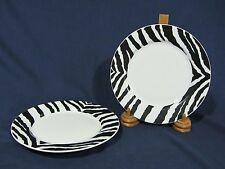 "Sasaki ""Morocco White"" Zebra Pattern Salad Plates - Set of 2"